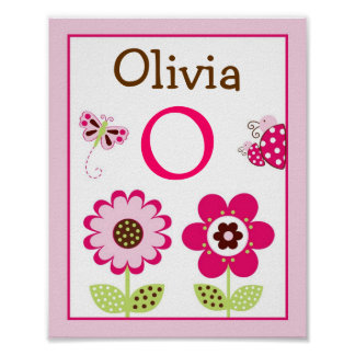 Berry Garden Ladybug Nursery Wall Art Name Print