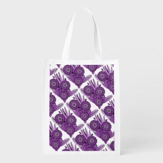 Berry Gerbera Daisy Flower Bouquet Reusable Grocery Bag