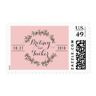 Berry Green Laurel Rose Quartz Wedding Postage