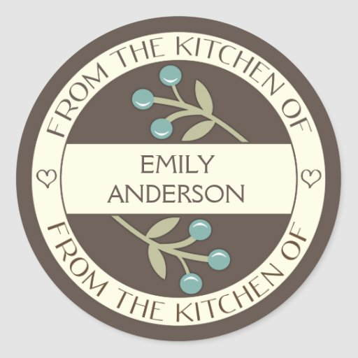 Berry Lovely From the Kitchen of Label Brown Classic Round Sticker