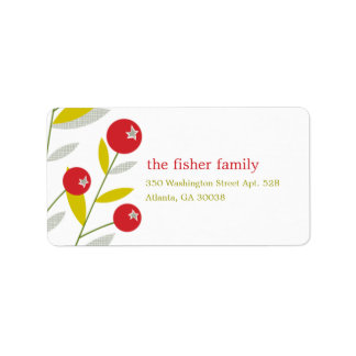 Berry Merry Christmas Holiday Address Label Personalized Address Labels