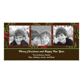 Berry Merry Christmas Holiday Photo Card Photo Greeting Card
