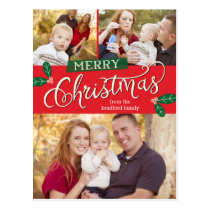 Berry Merry Christmas Photo Card Postcard