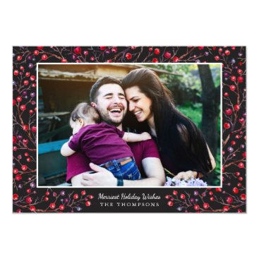 Christmas Themed Berry Merry Holiday Photo Card