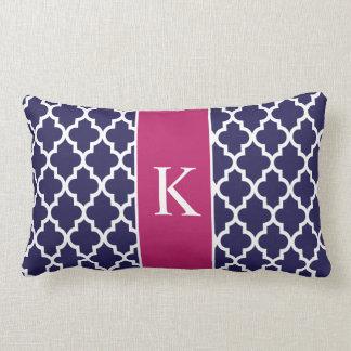 Berry Navy Blue Moroccan Custom Monogram Pillow