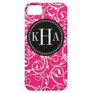 Berry Pink & Black Damask Custom Monogram Pattern iPhone SE/5/5s Case