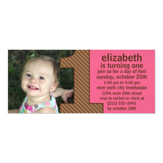 """Berry Pink & Brown One Is Fun Photo First Birthday 4"""" X 9.25"""" Invitation Card"""