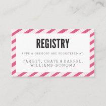 Berry Pink Carnival Stripes Registry Insert Card