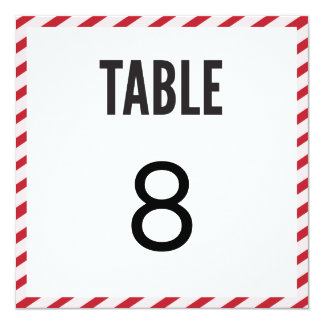 Berry Pink Carnival Stripes Table Number Card