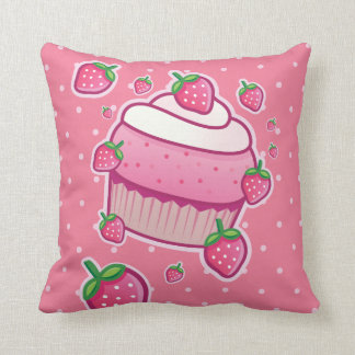 berry pink cupcake throw pillow