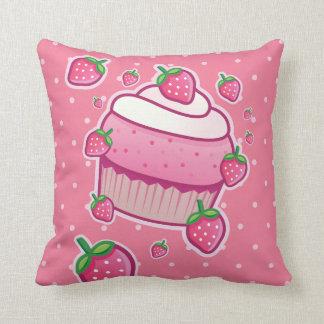 berry pink cupcake throw pillow
