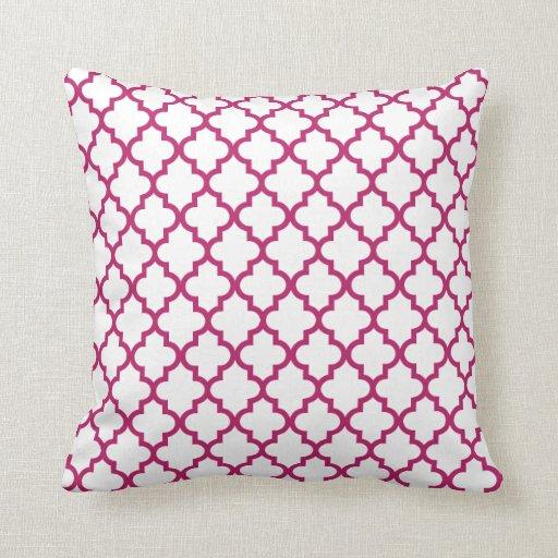 Berry Pink Lattice Pattern Pillow