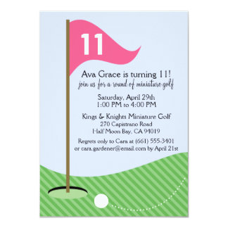 Berry Pink Let's Par-Tee Mini Golf Birthday Party Card