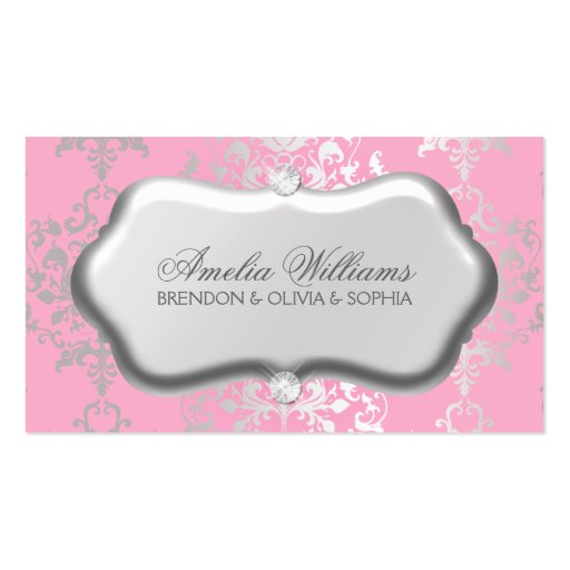 Berry Pink Luxe Damask & Diamonds Mommy Calling / Business Cards