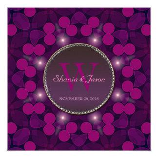 Berry Pink Magic Monogram Engagement Personalized Invitation