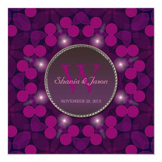 Berry Pink Magic Monogram Engagement 5.25x5.25 Square Paper Invitation Card