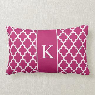 Berry Pink Moroccan Custom Monogram Throw Pillow