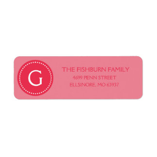 Berry Pink Muted Monogram Custom Monogrammed Return Address Labels