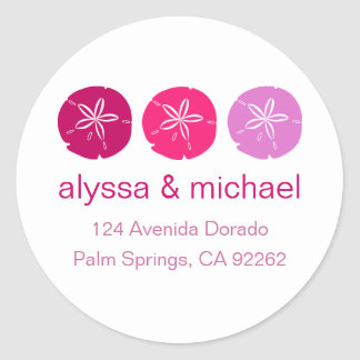 Berry Pink Sand Dollar Address Labels Classic Round Sticker