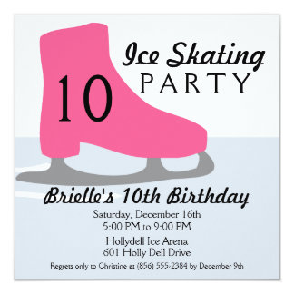 Berry Pink Skate Date Ice Skating Birthday Party Announcement