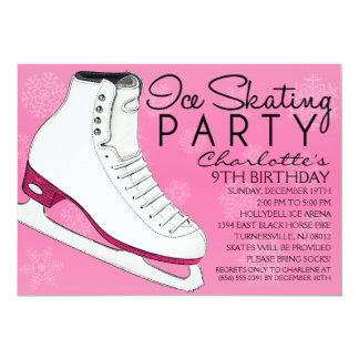 Berry Pink Skate Mates Ice Skating Birthday Party 5x7 Paper Invitation Card