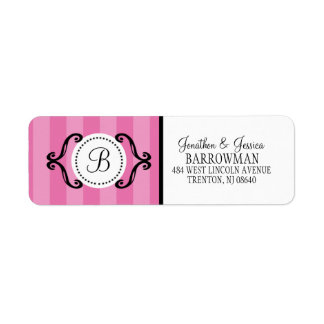 Berry Pink Sweet Charming Striped Personalized Label