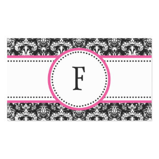 Berry Pink & White Classic Damask Mommy Calling / Double-Sided Standard Business Cards (Pack Of 100)