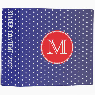 Berry Pop Blue and white polka dots Binder