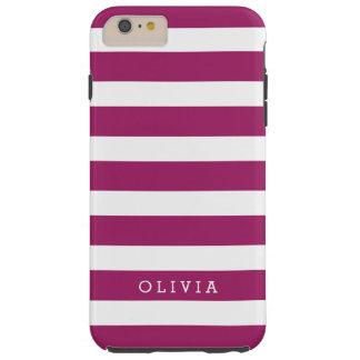 Berry Purple and White Classic Stripes Monogram Tough iPhone 6 Plus Case