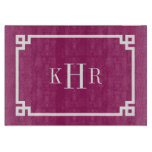 Berry Purple Greek Key Border Custom Monogram Cutting Board