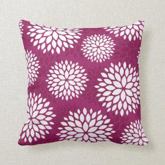 Berry Purple Modern Flowers Pillow