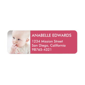 Berry red block custom photo modern return address label
