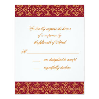 """Berry Red Cluster Response Card 4.25"""" X 5.5"""" Invitation Card"""
