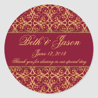 Berry Red Cluster Wedding Thank You Stickers