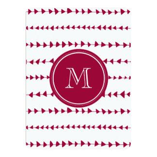 Berry Red White Aztec Arrows Monogram 6.5x8.75 Paper Invitation Card