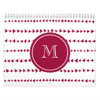Berry Red White Aztec Arrows Monogram Calendar