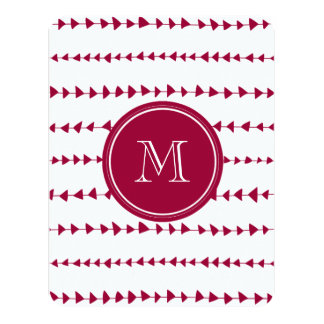 Berry Red White Aztec Arrows Monogram Card