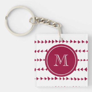 Berry Red White Aztec Arrows Monogram Keychain