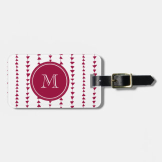 Berry Red White Aztec Arrows Monogram Luggage Tags