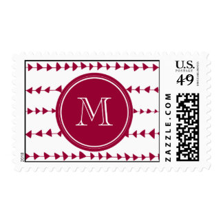 Berry Red White Aztec Arrows Monogram Stamps