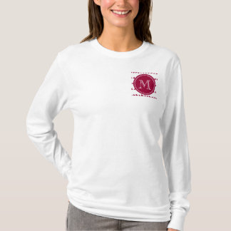 Berry Red White Aztec Arrows Monogram T-Shirt