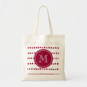 Aztec Themed Berry Red White Aztec Arrows Monogram Tote Bag