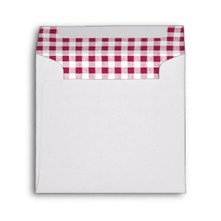Berry Red White Gingham Pattern Envelope