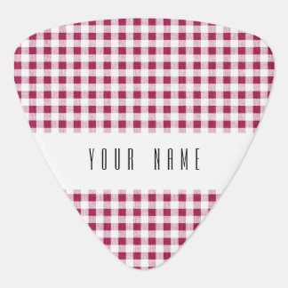 Berry Red White Gingham Pattern Guitar Pick