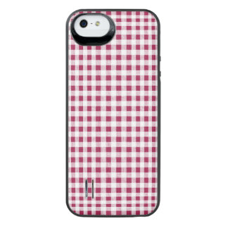 Berry Red White Gingham Pattern iPhone SE/5/5s Battery Case