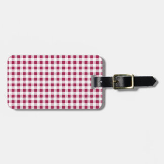 Berry Red White Gingham Pattern Tag For Luggage