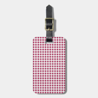 Berry Red White Gingham Pattern Travel Bag Tags