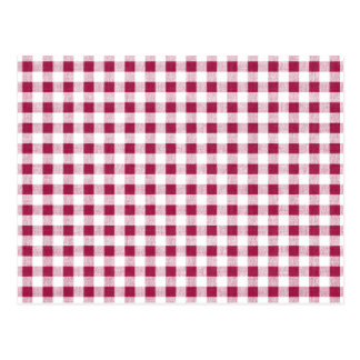 Berry Red White Gingham Pattern Postcard