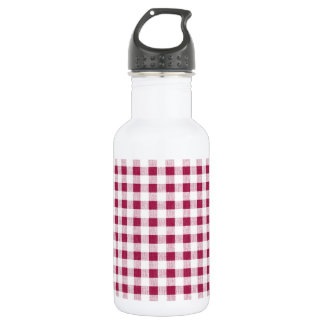 Berry Red White Gingham Pattern Stainless Steel Water Bottle