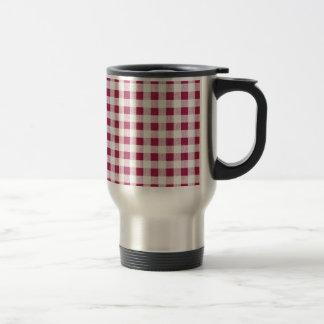 Berry Red White Gingham Pattern Travel Mug